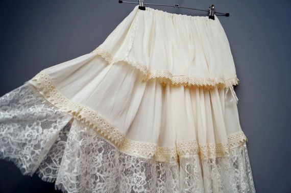 Check out this item in my Etsy shop https://www.etsy.com/uk/listing/255435877/boho-wedding-lace-skirt-cream-ivory