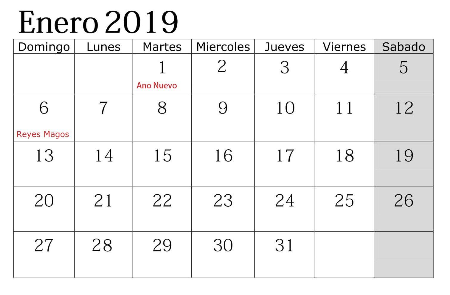 Calendario Grande.Grande Imprimir Calendario Enero 2019 Con Festivos