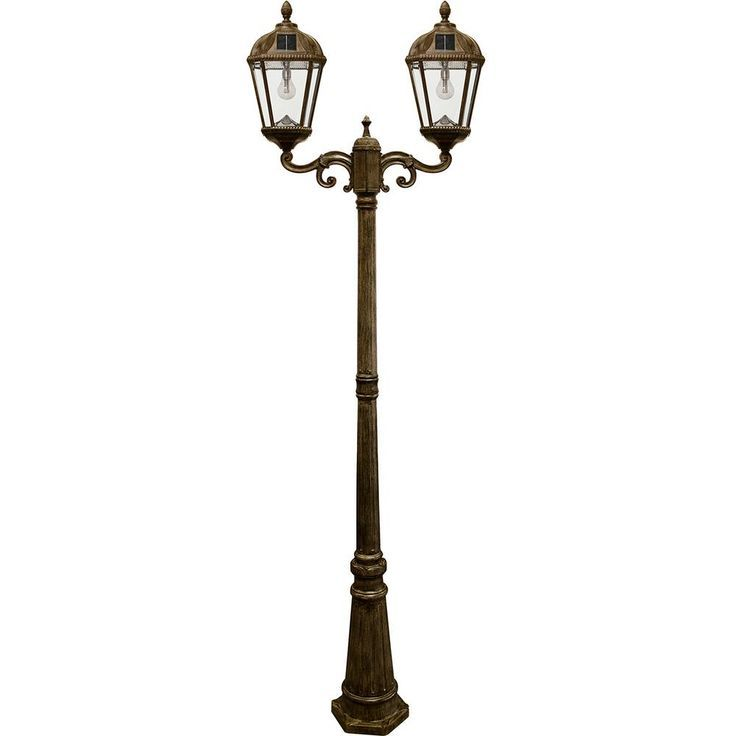 Royal Bulb Series 2 Head Weathered Bronze Integrated Led Outdoor Solar Lamp Post With The Gs Light