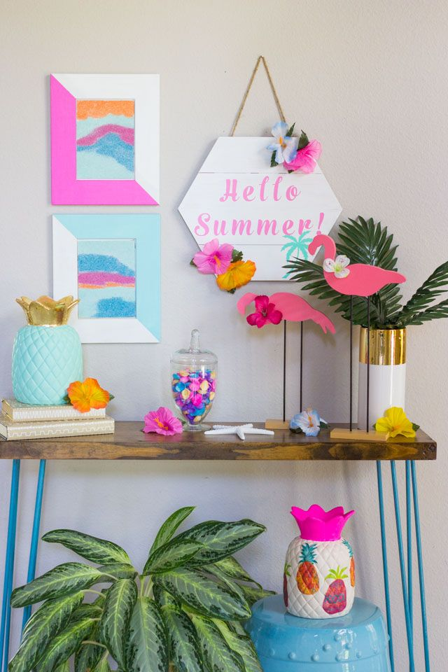 Hello Summer Diy Tropical Decor Ideas Design Improvised Food And Drink Improvised Decor Foodanddrink Diy Summer Crafts Tropical Decor Diy Home Crafts