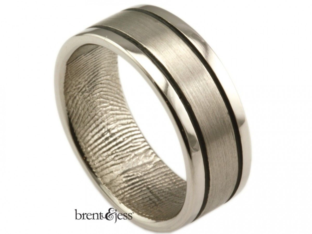 From www.brentjess.com - Modern Lines Fingerprint Wedding Ring in ...