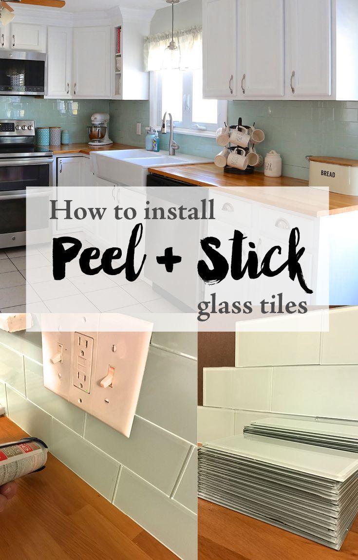 - Installing Peel And Stick Glass Tiles Diy Kitchen Renovation