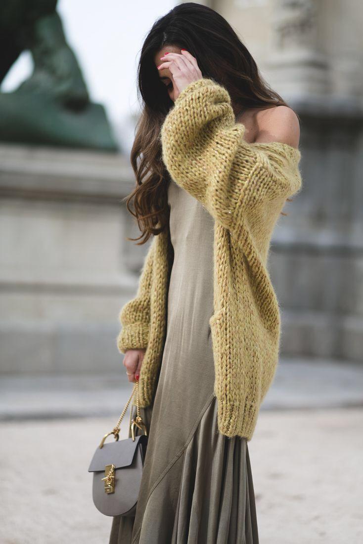 chloe drew bag | chunky knit cardigan | street style ...