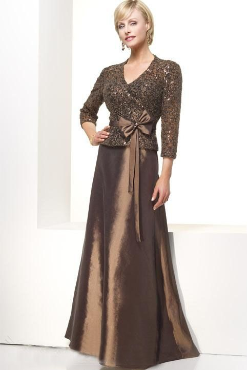 Brown Mother Of Bride Gown With Long Sleeves | Mothers Dress ...