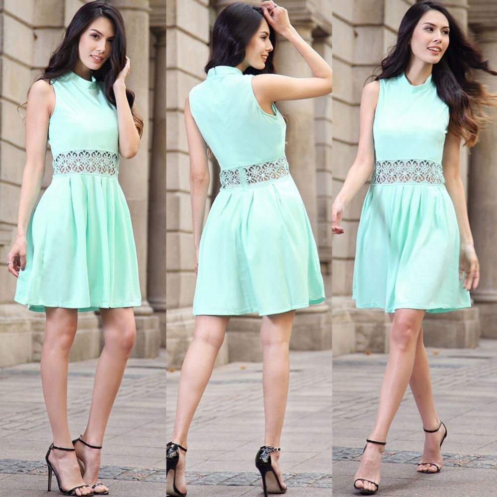 JIALIGUO Lace Patchwork Women Dress O Neck Casual Bodycon Party ...