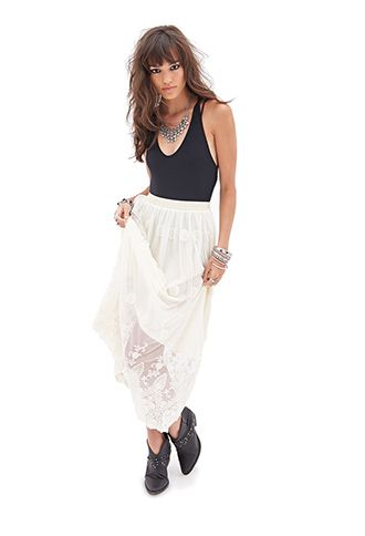 Floral Tulle Maxi Skirt   FOREVER 21 - 2000058584
