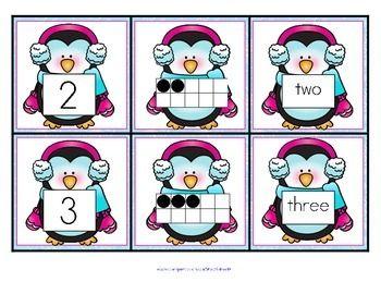 penguins number matching cards 0 10 free winter activities kindergarten math activities. Black Bedroom Furniture Sets. Home Design Ideas