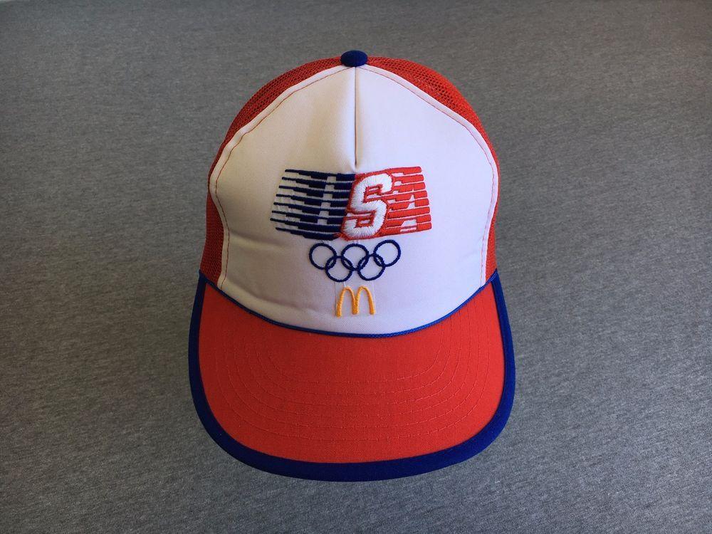 Olympic Usa Mcdonalds Hat Vtg La 1984 80s Snapback Mesh Truckers Mint Nwot Hats Trucker Mcdonalds