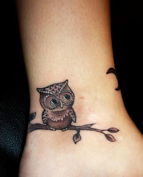 Ankle owl & branch tattoo