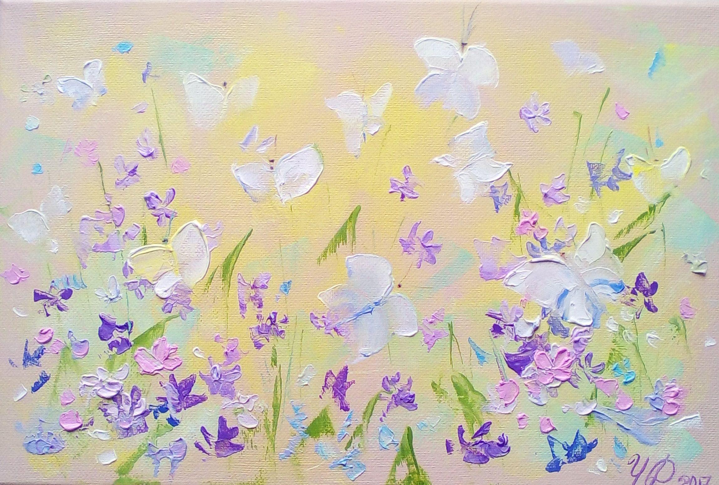 original art painting oil flower bedroom wall art Butterflies ...