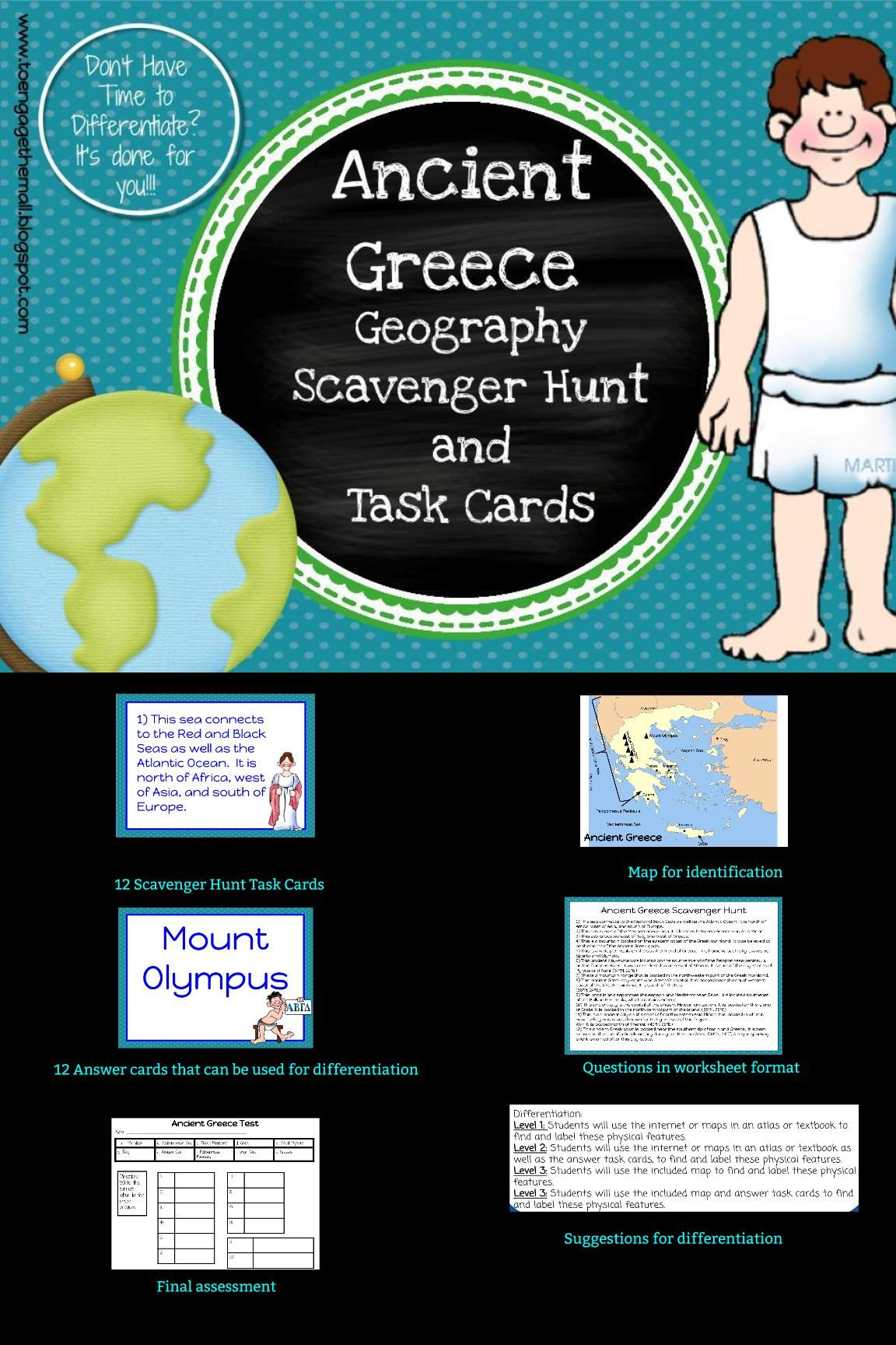 Ancient Greece Geography Scavenger Hunt And Task Cards
