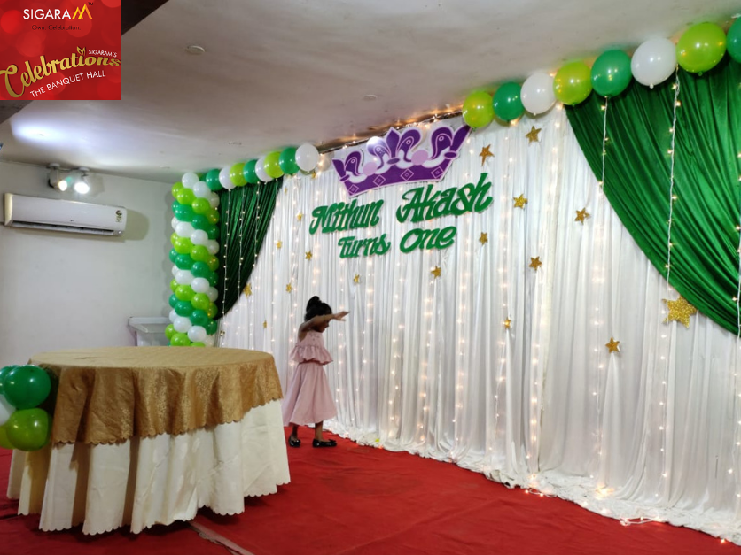 Perfect Party Hall For All Kinds Of Gathering Events Sigaram Celebrations Banquet Hall Party Hall Birthday Party Themes Kids Birthday