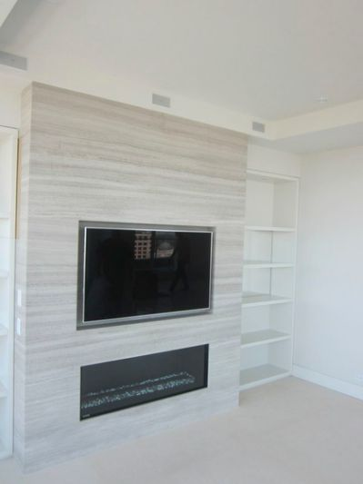 Recessed TV Above Fireplace - Modern