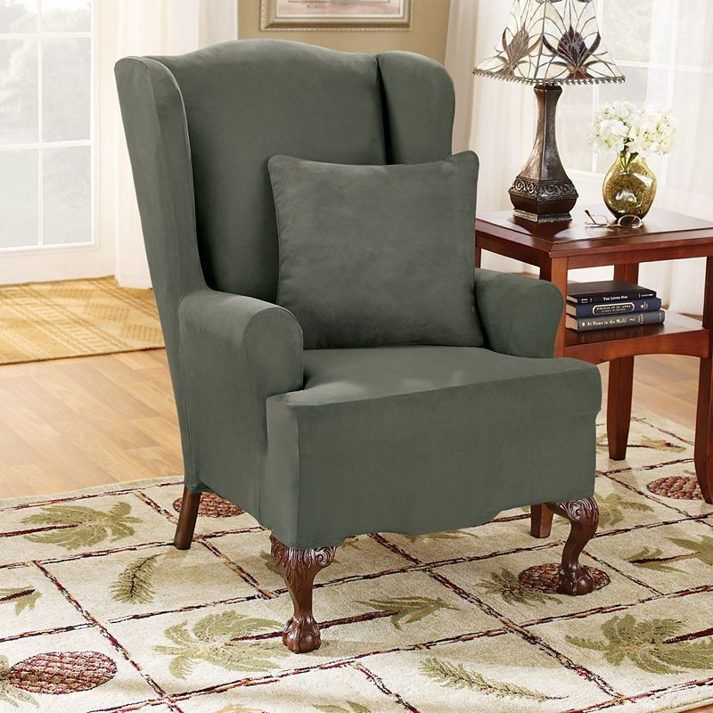 sure fit wing chair slipcover office arm covers uk stretch suede products slipcovers green