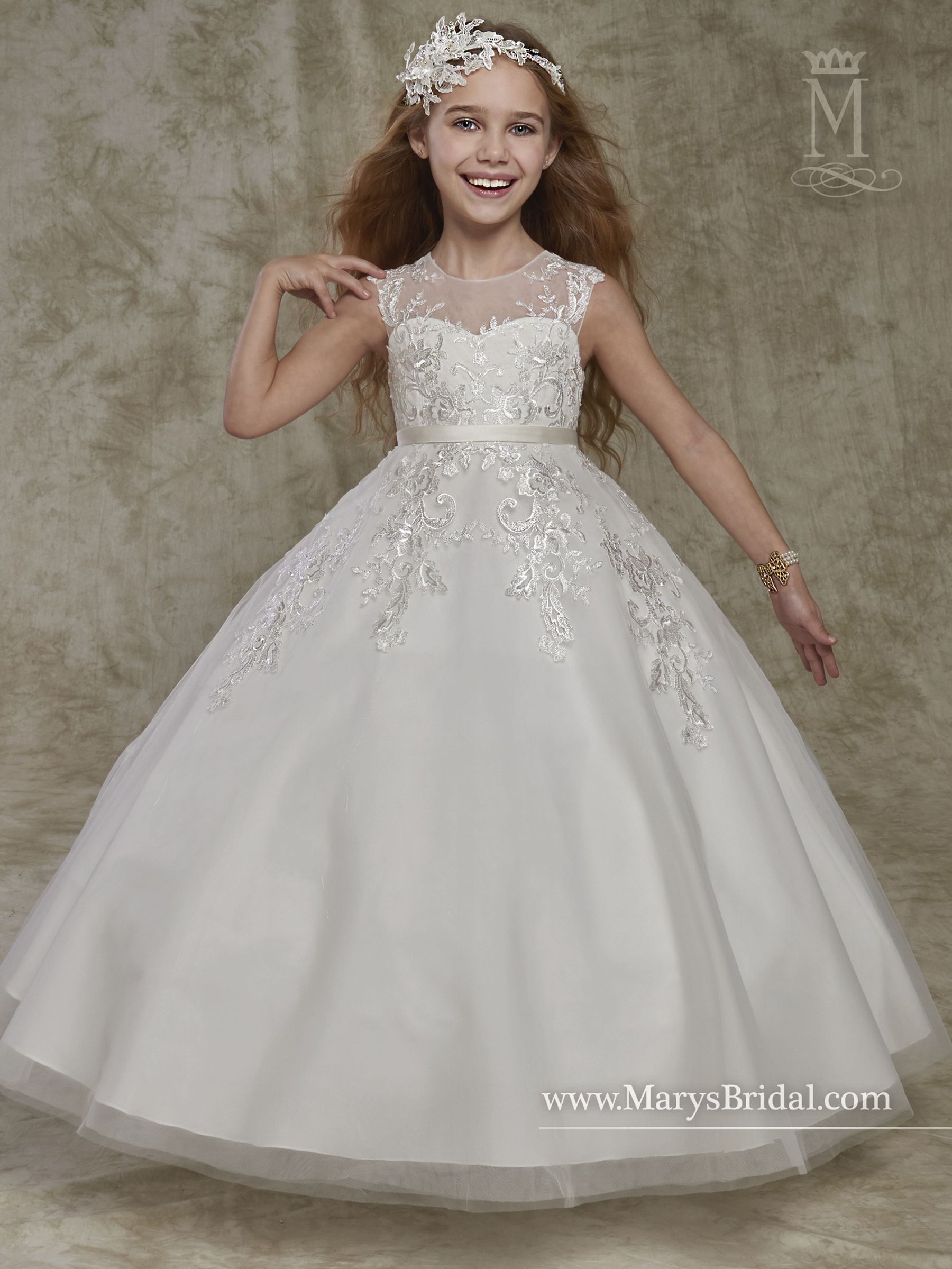 363647eba Tulle and lace flower girl ball gown with illusion jewel neck line, belt,  and back zipper closure.