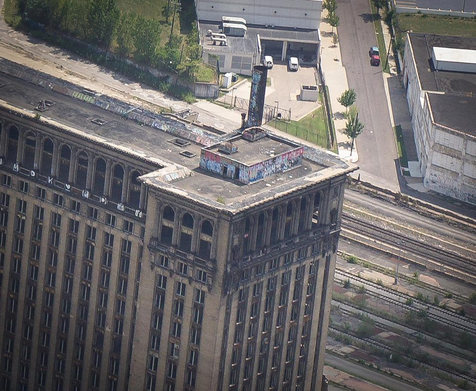 Michigan Central Train Station. One of my favorite buildings in Detroit. Her desolation breaks my heart.