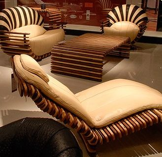 Contemporary Modern And Sustainable Tropical Green Palm Wood Furniture Cozy Interior