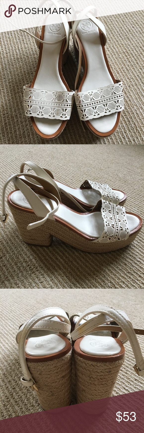 ad143b86f Tory Burch Roselle Leather Espadrille Sandal NWOB Roselle leather 100mm  platform espadrille sandal in white.