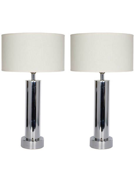 Pair of Machine Age Column Lamps in the Manner of Walter Von Nessen