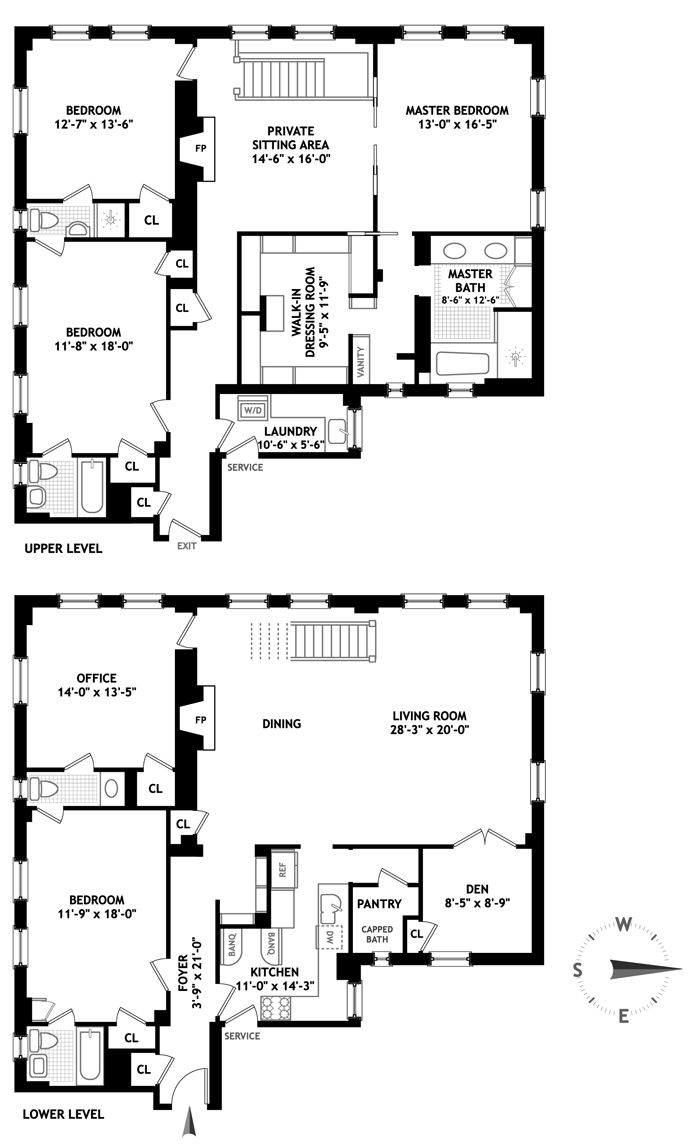 """10-room combo duplex at 32 Washington Square West has just hit the market for $7 million, and according to Real Estalker, actress Mary-Louise Parker is the seller. The 5BR/4.5BA co-op has a double living room, dining room, library, two wood-burning fireplaces, and """"luxurious master wing."""""""