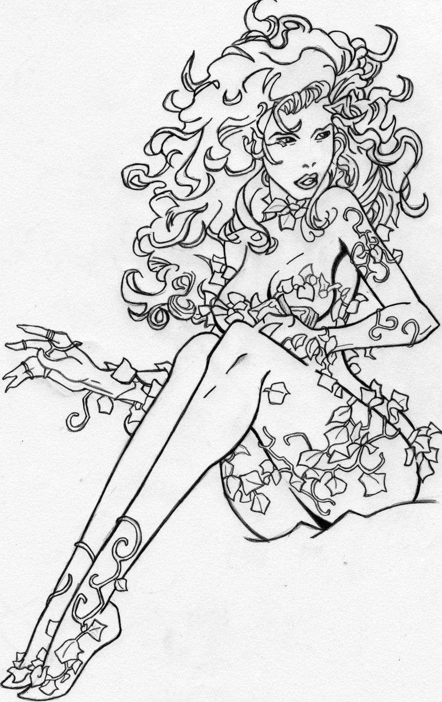 poison ivy coloring pages poison ivy pencil for ink or