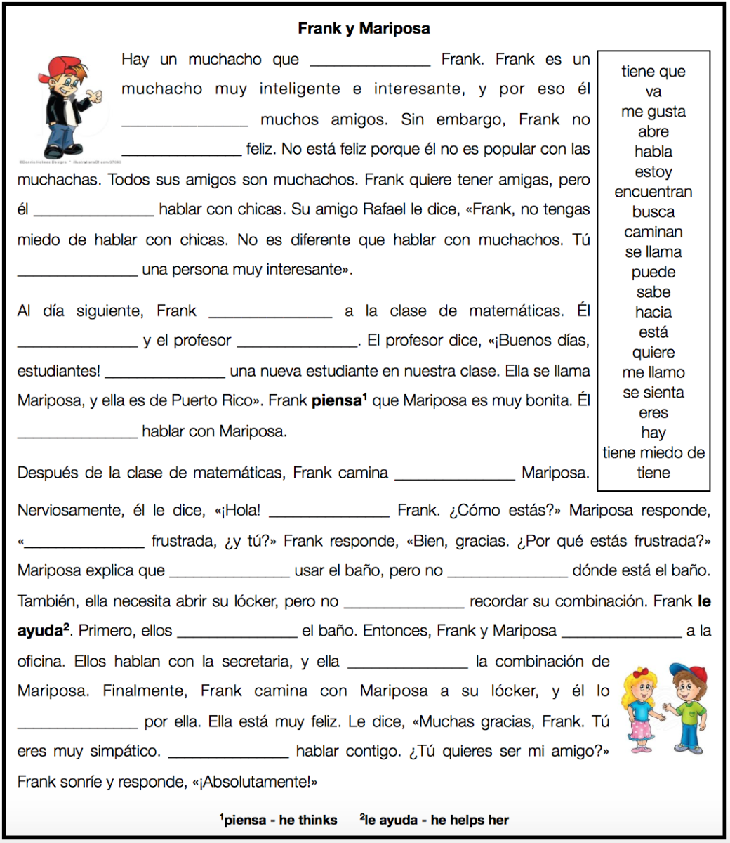 Here Is My Midterm For Spanish 1a Reading Comprehension Students Complete The Cloze Passage Using Spanish Classroom Activities Cloze Passages Spanish Writing [ 1200 x 1040 Pixel ]