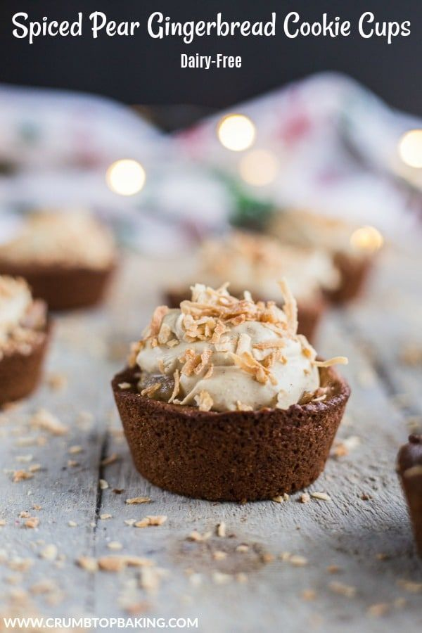 Spiced Pear Gingerbread Cookie Cups With a gingerbread cookie base, topped with spiced pears and molasses coconut cream, these Spiced Pear Gingerbread Cookie Cups make the perfect Christmas dessert!