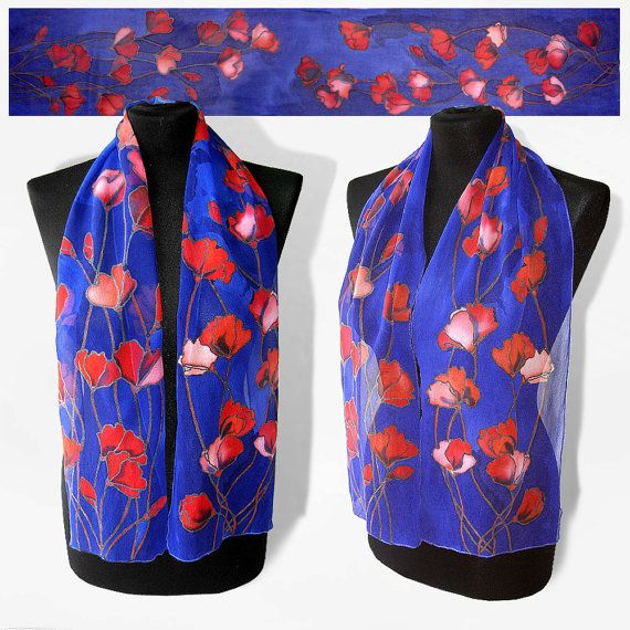 Silk scarf Tulips dark blue scarves with red flowers by MinkuLUL