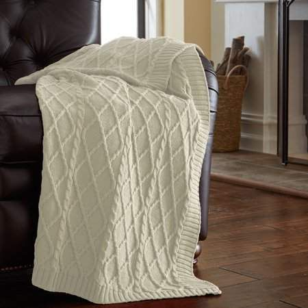 Pacific Coast Textiles Amrapur Oversized Cable Diamond Knit Throw Delectable Luxury Throw Blanket By Amrapur