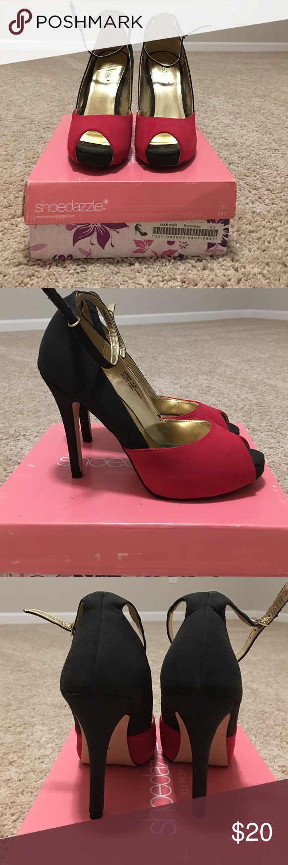 Gray and red ankle strap heels. Size 8.5. Gray and red ankle strap peep toe heels. Heel is 4 inches. Shoedazzle. Size 8.5. Only worn twice. In excellent condition. Shoe Dazzle Shoes Heels