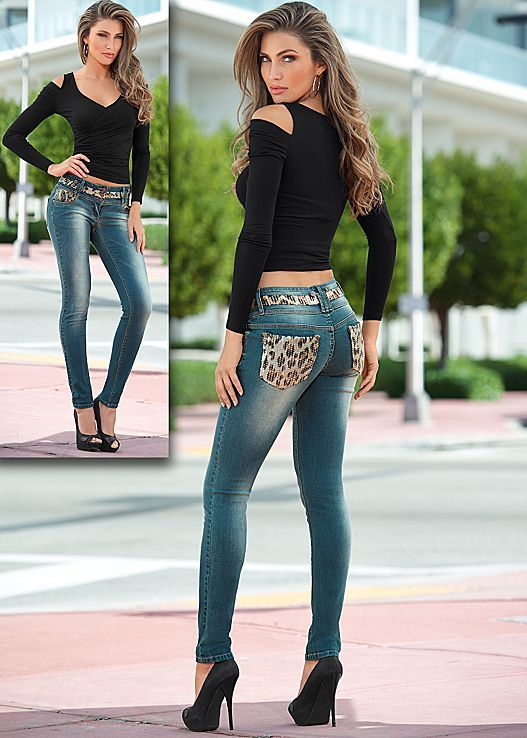 e8541ee6b7 Black Draped sleeve top with leopard embellished denim from VENUS. Top  sizes XS-XL