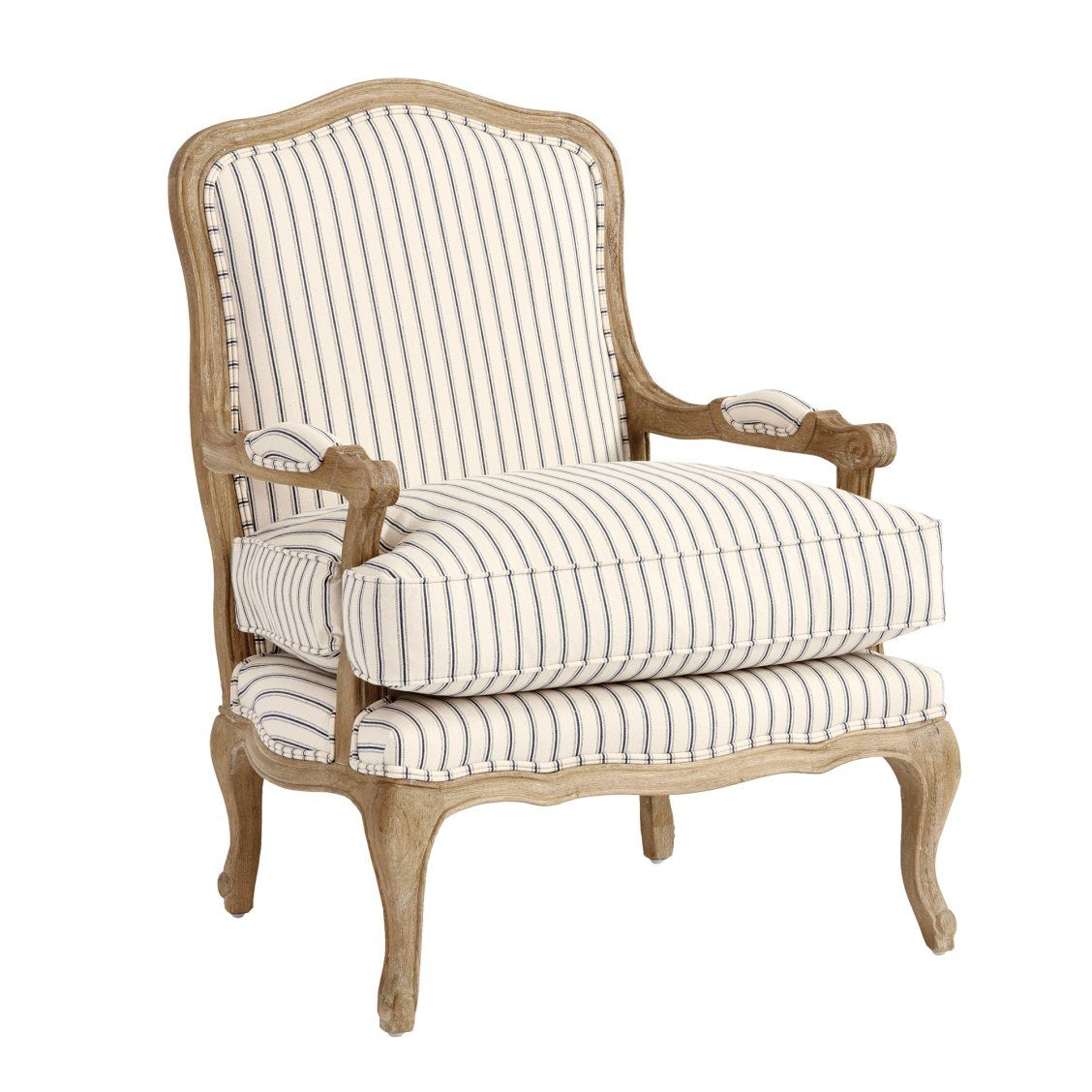 The Louisa Bergere Chair In Vintage Ticking Stripe Navy Is A