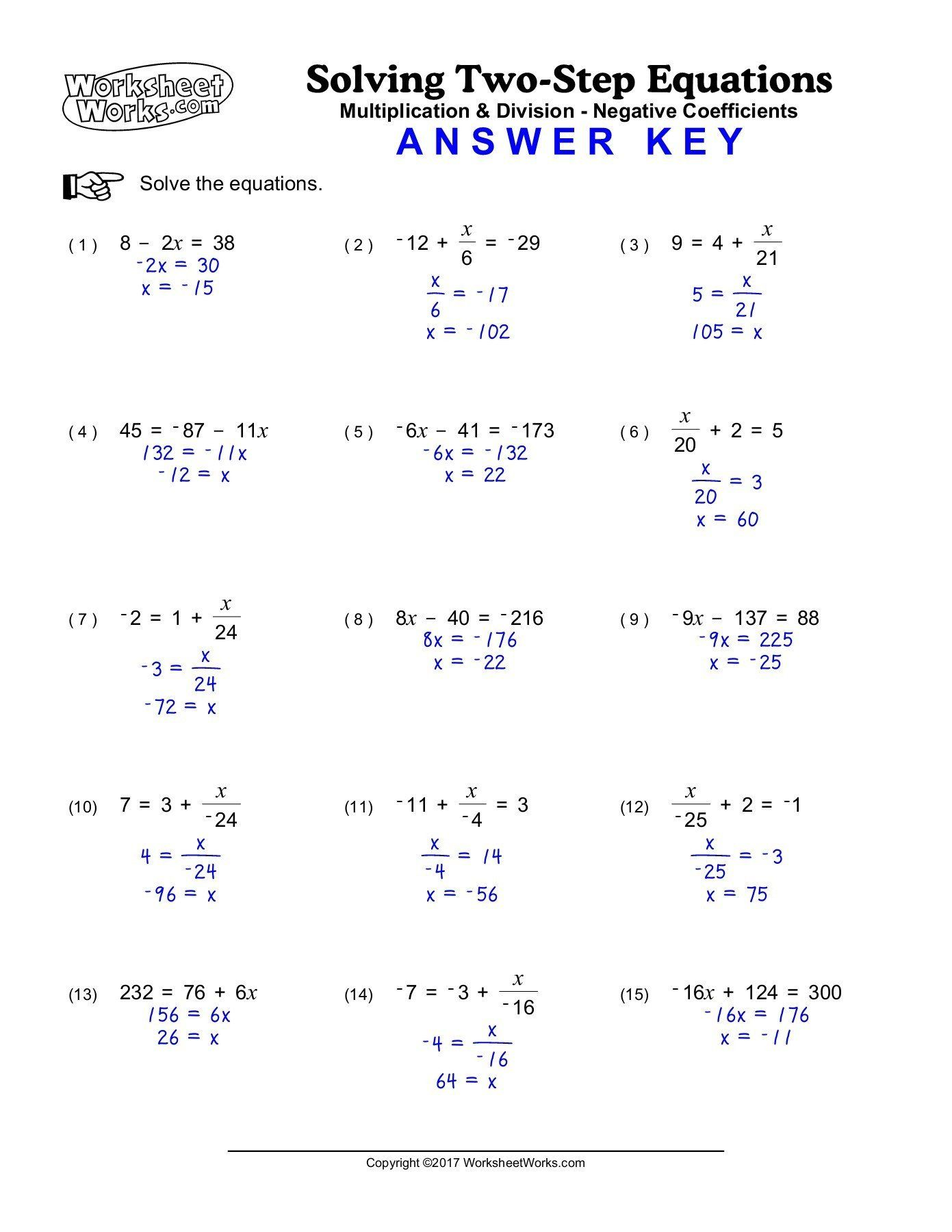 Solving Two Step Equations Worksheet Worksheetworks