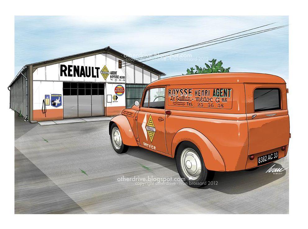 Renault juva 4 garage baysse auto retro pinterest dessin voiture voitures anciennes et - Dessin renault ...