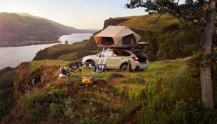 Great Campsite With A Tent Topped Subaru Crosstrek