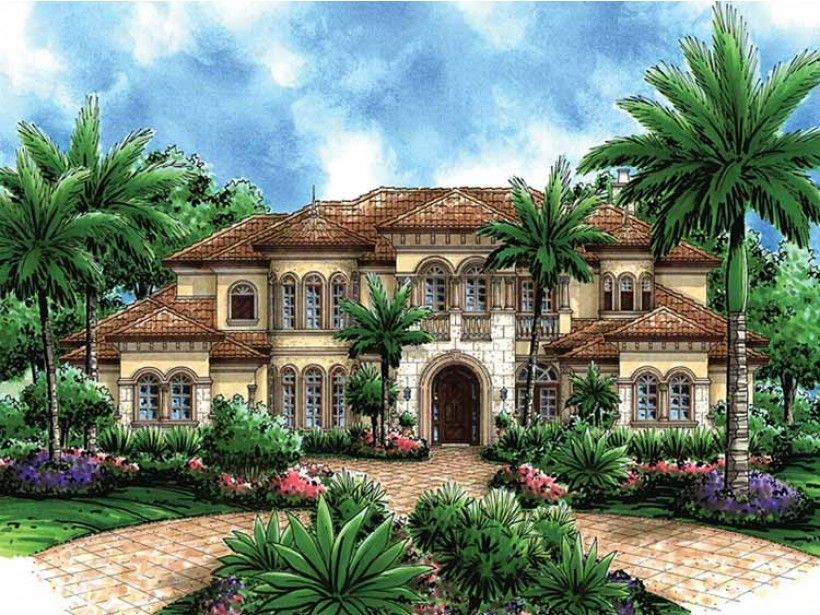 Mediterranean Style House Plan 5 Beds 6 5 Baths 6718 Sq Ft Plan 1017 45 Mediterranean Style House Plans Mediterranean Design Mediterranean House Plan