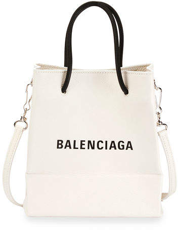 e1959a820aa4 Balenciaga Small Logo Pebbled Leather Shopping Tote Bag