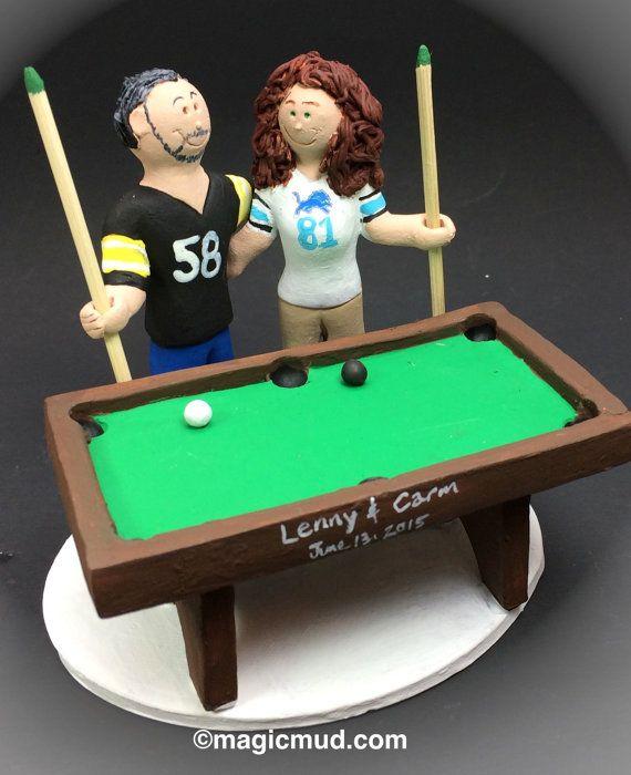 Billiard Player's Wedding Cake Topper - Custom Made Pool Players