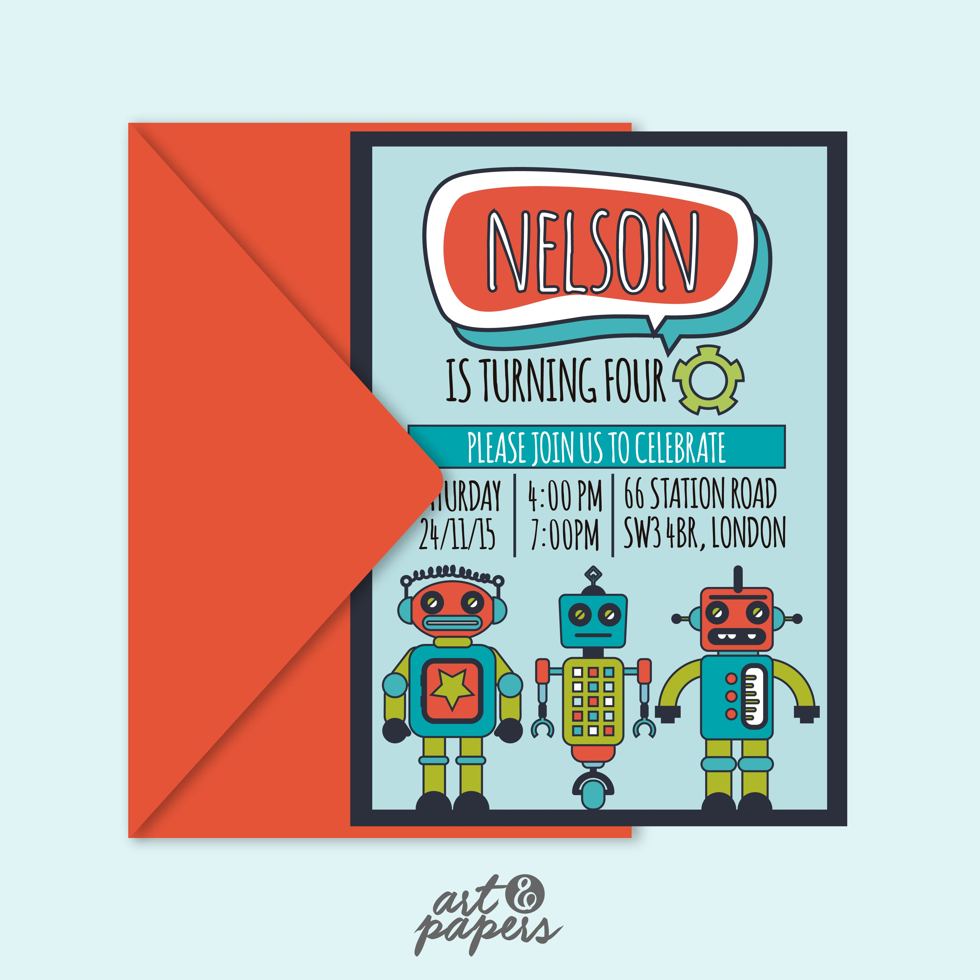 Old fashioned robot birthday party invitations picture collection printable party invitation robots party ideas party decor filmwisefo