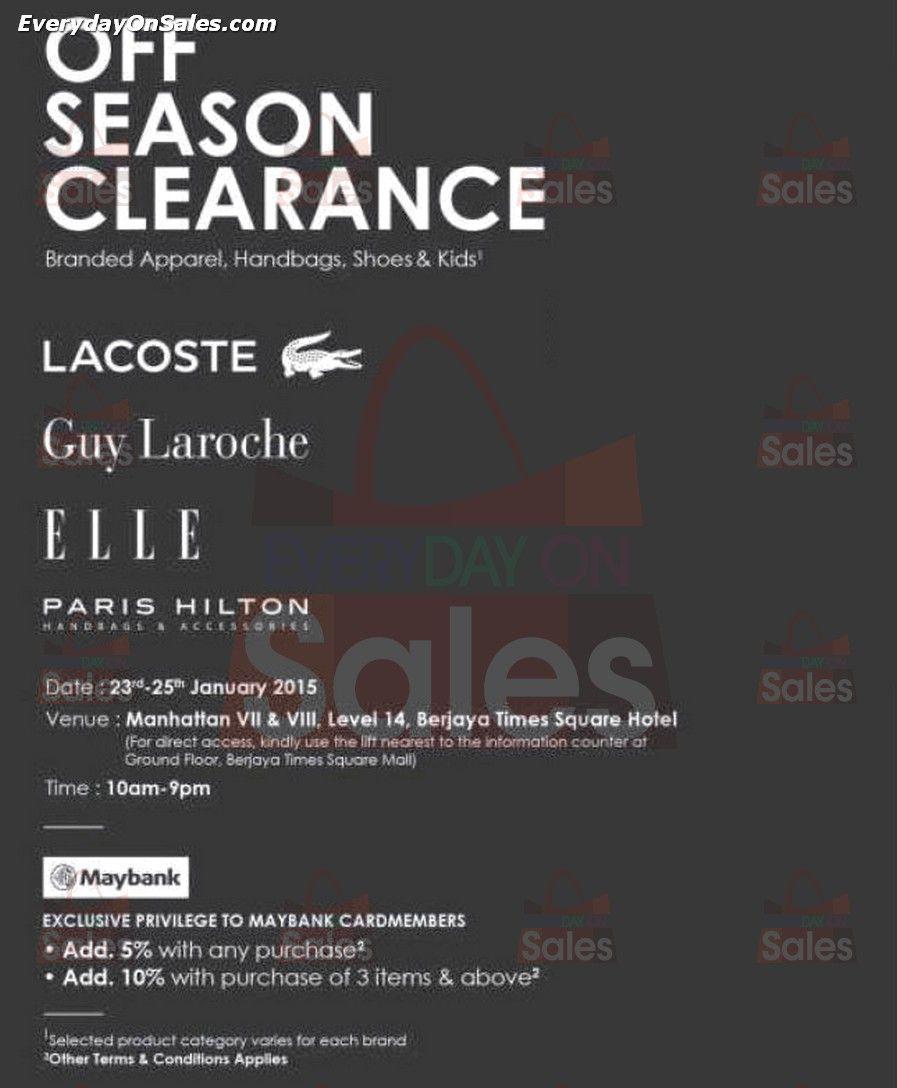 1add581159e58a 23-25 Jan 2015  Branded Off Season Clearance Warehouse Sale for Lacoste    Elle at Berjaya Times Square Hotel Kuala Lumpur