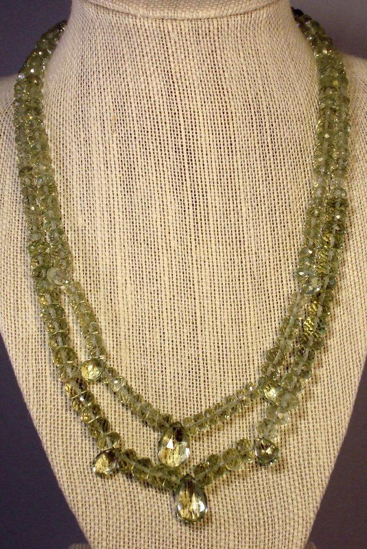 Light Green Amethyst Double Strand Necklace on Etsy, $260.00