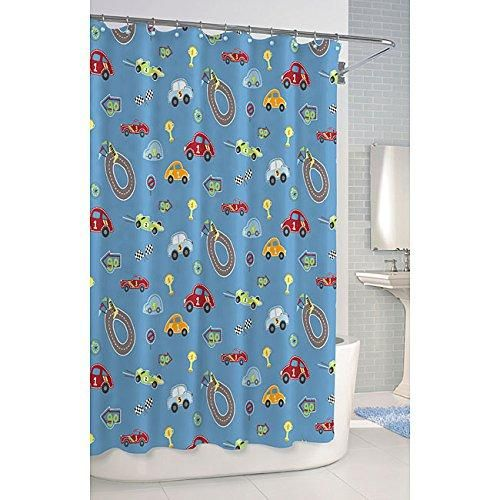 1 Piece Kids Race Cars Theme Shower Curtain Road