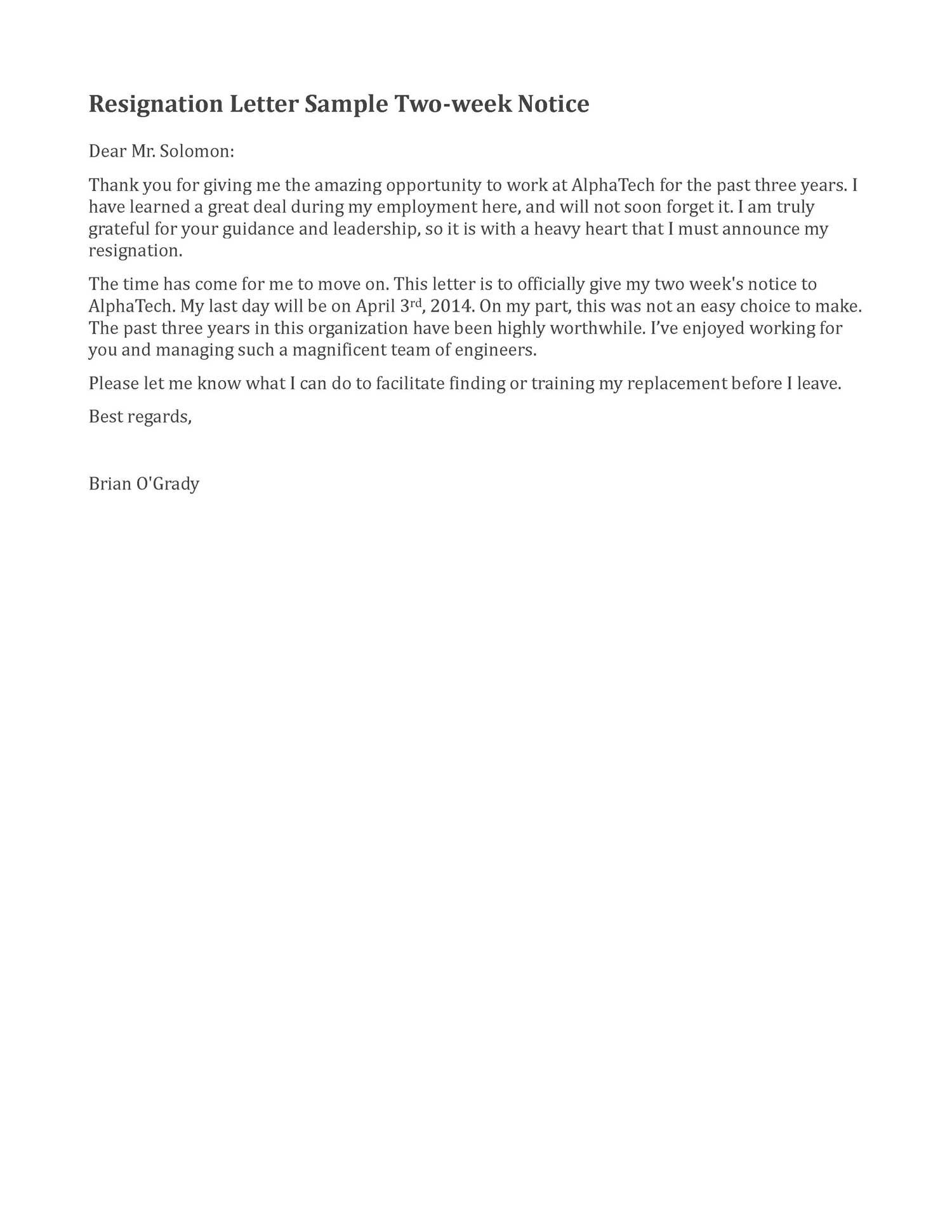 Resignation Letter Sample 2 Weeks Notice