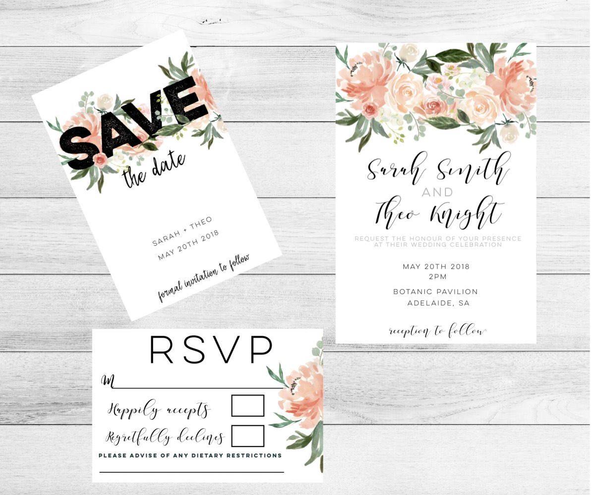 Botanical Wedding Invitations-Burgundy Wedding Invitation set ...