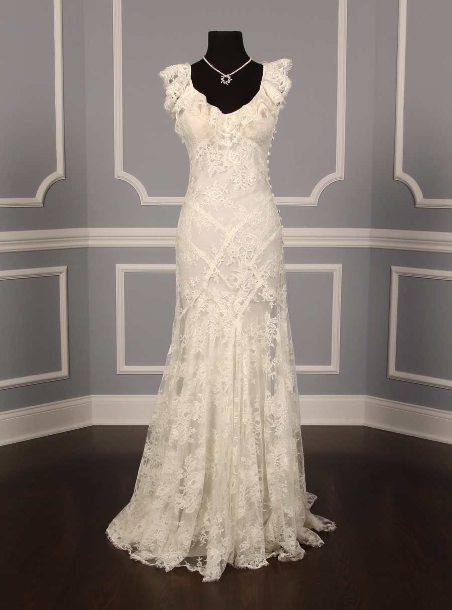 New Monique Lhuillier Chantilly Lace Gown Wedding Dress Size 2 1 450 Wedding Gowns Lace Formal Dresses For Weddings Wedding Dresses