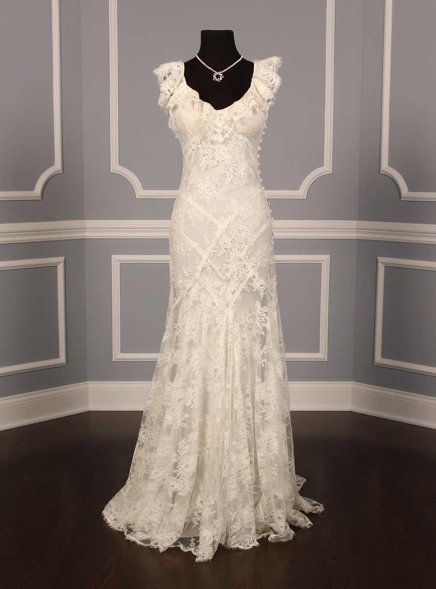 Monique lhuillier chantilly lace gown size wedding dress