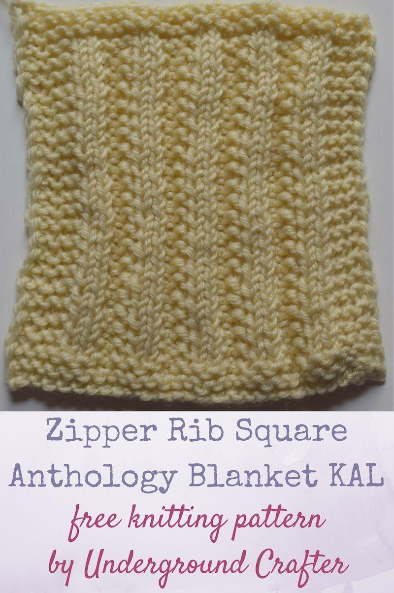 Zipper Rib Square, free knitting pattern | Knitting patterns ...