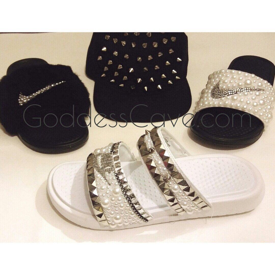 df5c2d24284b2e White Rockstar Nike Duo Slides