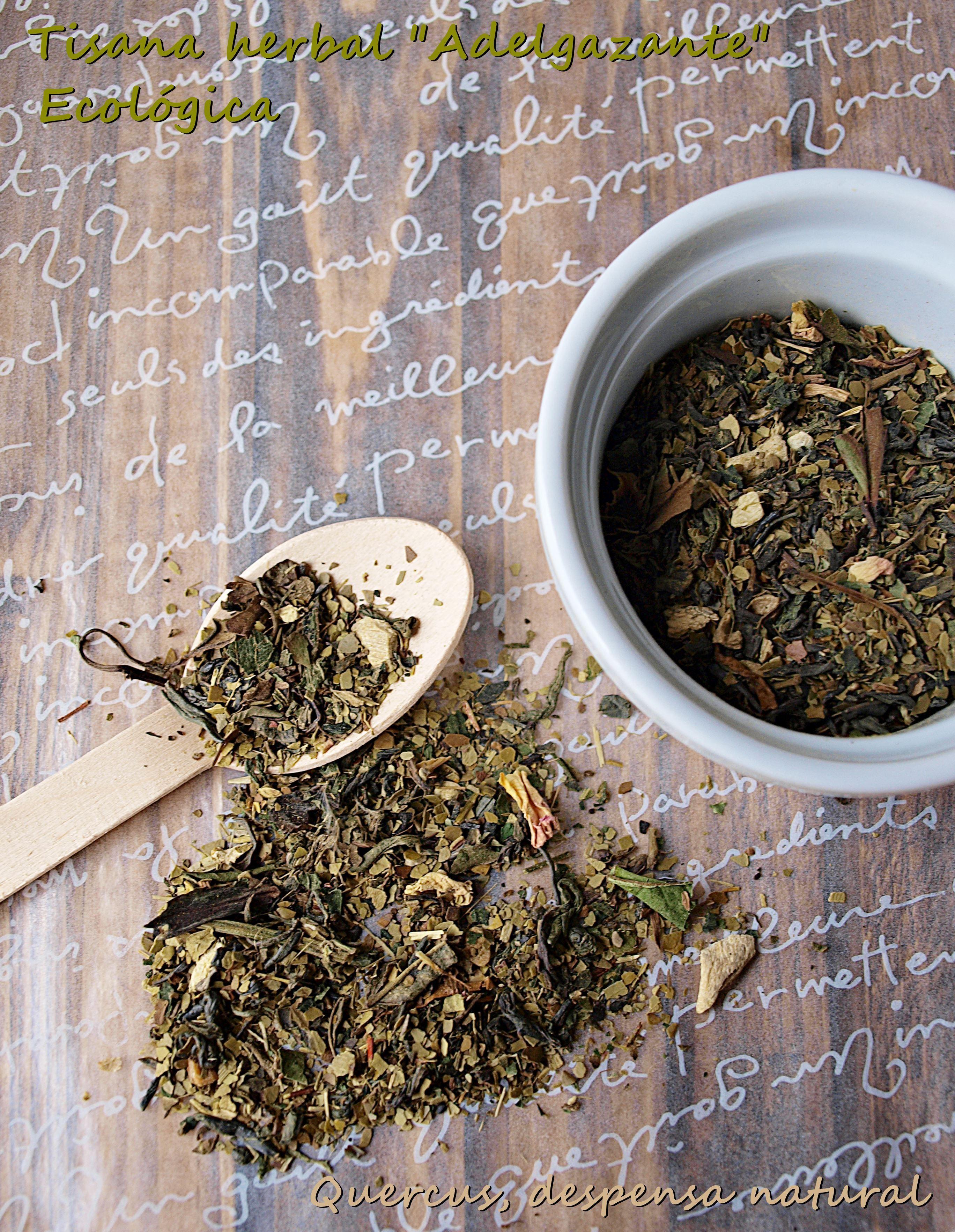 "Tisana herbal ""Adelgazante"" Ecológico Mate verde, té verde Chun Mee, Darjeeling verde, té blanco Pai Mu Tan, China Oolong, trozos de jengibre, rooibos verde, hierba tulsi, hojas de ortiga, hojas de diente de león, aroma natural, acerola berries, hojas de mora, pétalos de rosa"
