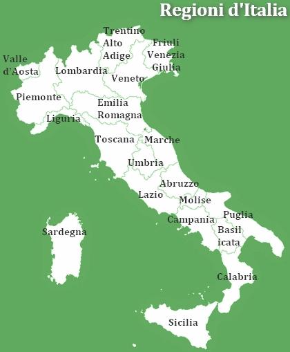 Cartina Italia Regioni E Province.Cartina Dell Italia Con Le Regioni Italia Geografia Viaggi